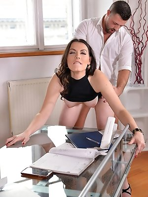 Personal Assistance Required: Boss Bangs Brunette in Office