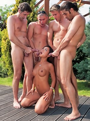 Jade the Asian slut takes on four hard cocks